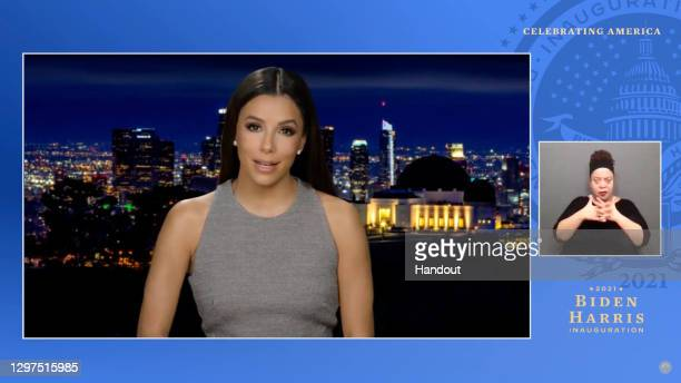 In this screengrab, Eva Longoria speaks during the Celebrating America Primetime Special on January 20, 2021. The livestream event hosted by Tom...