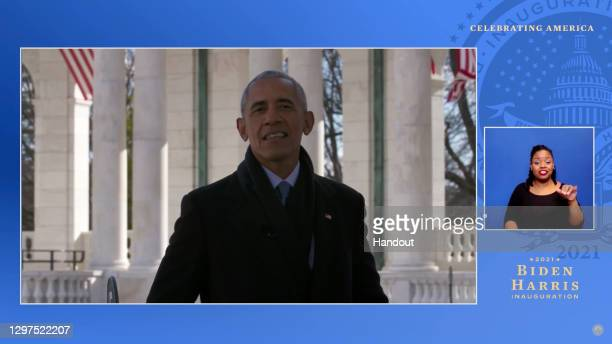 In this screengrab, Former president Barack Obama speaks during the Celebrating America Primetime Special on January 20, 2021. The livestream event...