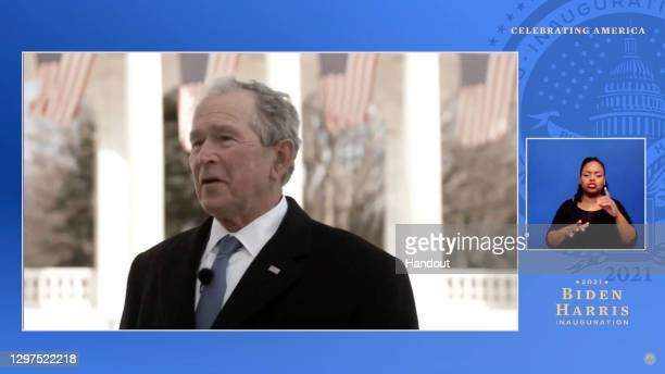 In this screengrab, former President George W. Bush speaks during the Celebrating America Primetime Special on January 20, 2021. The livestream event...