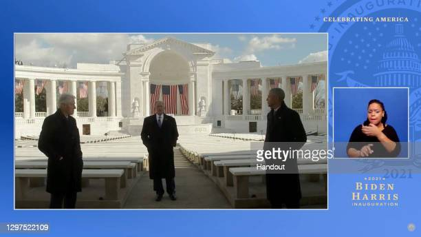 In this screengrab, Former presidents Bill Clinton, Barack Obama, and George W. Bush speak during the Celebrating America Primetime Special on...