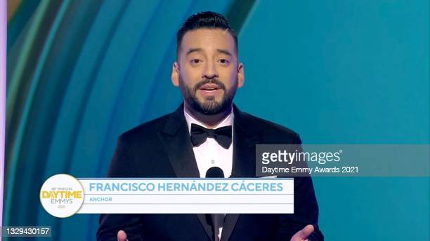 In this screengrab, Francisco Hernández-Cáceres speaks during the 48th Annual Daytime Emmy Awards for Lifestyle online on July 18, 2021.