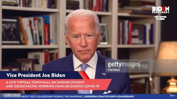 In this screengrab from Joebidencom Democratic presidential candidate and former US Vice President Joe Biden speaks during a Coronavirus Virtual Town...