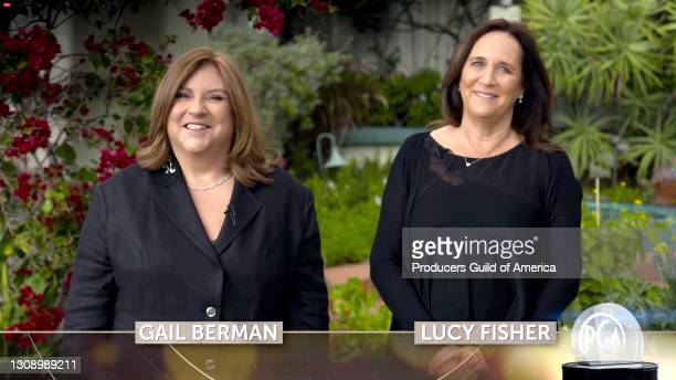 In this screengrab, Gail Berman and Lucy Fisher speak during the 32nd Annual Producers Guild Awards on March 24, 2021.
