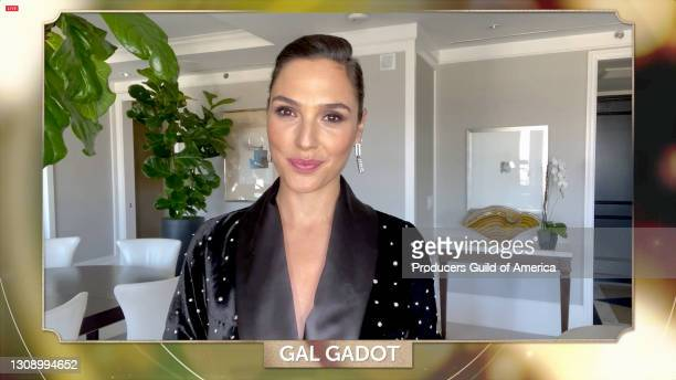 In this screengrab, Gal Gadot speaks during the 32nd Annual Producers Guild Awards on March 24, 2021.