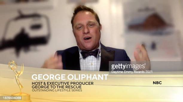 """In this screengrab, George Oliphant accepts the award for Outstanding Lifestyle Series for """"George to the Rescue"""" during the 48th Annual Daytime Emmy..."""