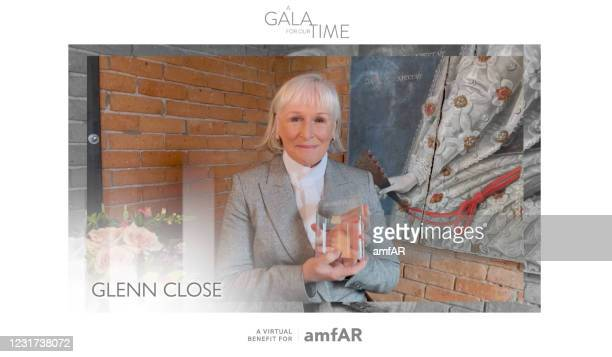 In this screengrab, Glenn Close participates in amfAR's A Gala For Our Time Virtual Event on March 4, 2021.