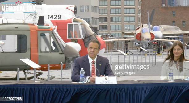 In this screengrab Governor of New York Andrew Cuomo and Michaela Cuomo speak at the Intrepid Sea Air Space Museum's virtual Memorial Day...