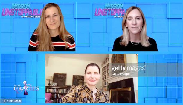 In this screengrab guest Geena Davis and Nicole Small accept the Best Family Series award for Mission Unstoppable at the 45th Anniversary Gracie...