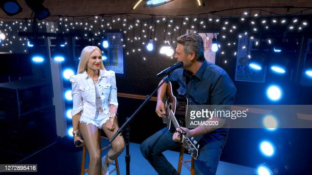 In this screengrab, Gwen Stefani and Blake Shelton perform during the 55th Academy of Country Music Awards on August 31, 2020 in Los Angeles,...