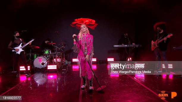 In this screengrab, Gwen Stefani performs during Pandora Live Powered By Women Featuring Gwen Stefani And Jazmine Sullivan on March 30, 2021 in...