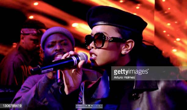 In this screengrab, H.E.R. Attends MusiCares: Music On A Mission Online Celebration and Fundraiser during the 63rd Annual GRAMMY Awards on March 12,...