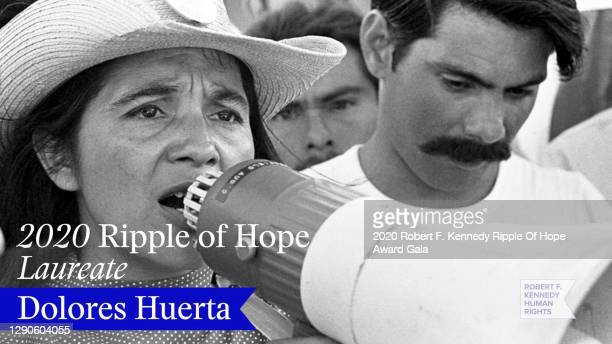 In this screengrab, honoree Dolores Huerta is seen at the 52nd annual Robert F. Kennedy Ripple of Hope Award gala, honoring courageous human rights...