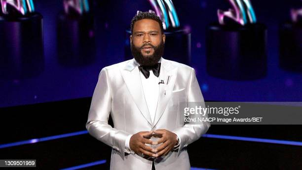 In this screengrab, host Anthony Anderson speaks onstage during the 52nd NAACP Image Awards on March 27, 2021.