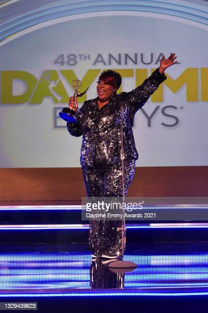 In this screengrab, host Loni Love poses during the 48th Annual Daytime Emmy Awards for Lifestyle online on July 18, 2021.