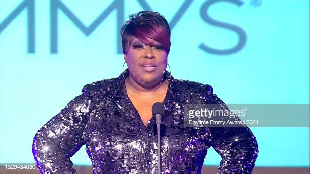In this screengrab, host Loni Love speaks during the 48th Annual Daytime Emmy Awards for Lifestyle online on July 18, 2021.