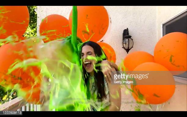 In this screengrab host Victoria Justice gets slimed during Nickelodeon's Kids' Choice Awards 2020 Celebrate Together presented on May 02 2020