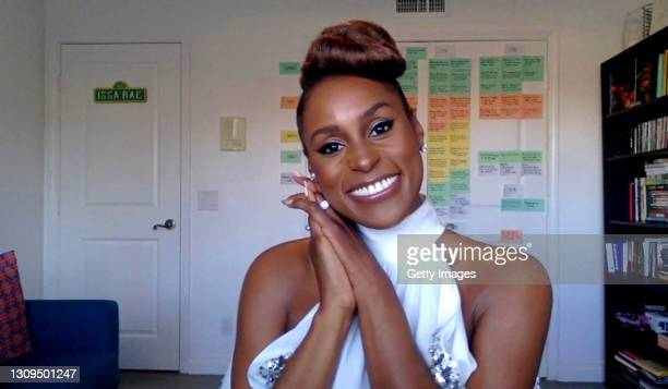 In this screengrab, Issa Rae, winner of Outstanding Actress in a Comedy Series category speaks at the 52nd NAACP Image Awards Virtual Press...