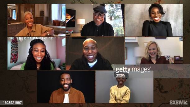 In this screengrab, Jada Pinkett Smith, Little Marvin, Deborah Ayorinde, Alison Pill, Melody Hurd, Ashley Thomas, Shahadi Wright Joseph and Lena...