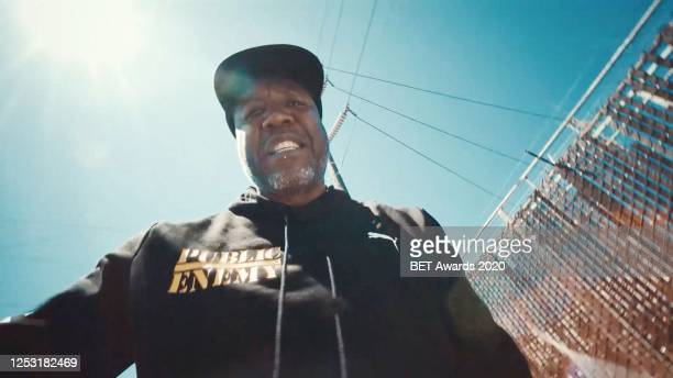 """In this screengrab Jahi joins Chuck D, Nas, Black Thought, Rapsody, Flavor Flav and YG for a performance of """"Fight the Power"""" during the 2020 BET..."""
