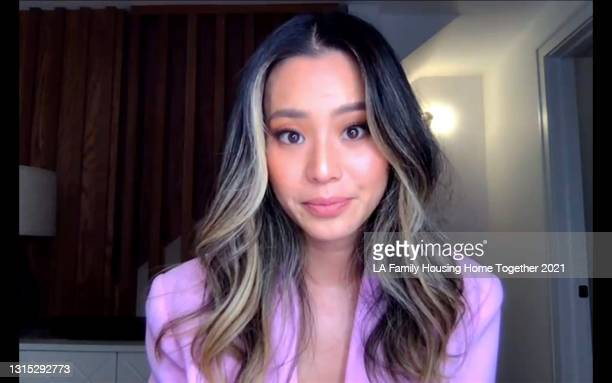 In this screengrab, Jamie Chung speaks during LA Family Housing's Home Together virtual event, presented by RBC|City National Bank and The Smidt...