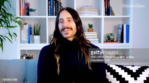 "In this screengrab, Jared Leto appears virtually on twitter's livestream of ""HFPA Presents: Globes Countdown Live"", the official pre-show for the..."