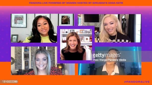 In this screengrab, Jazmine Sullivan , Gwen Stefani , Hoda Kotb , Lauren Alaina and Becky G speak during Pandora Live Powered By Women Featuring Gwen...