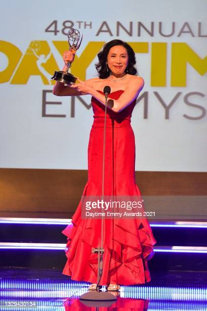 """In this screengrab, Jodi Long accepts the award for Outstanding Performance by a Supporting Actress in a Daytime Fiction Program for """"Dash & Lily""""..."""