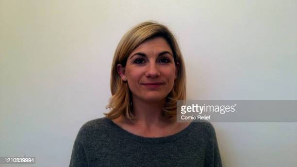 In this screengrab, Jodie Whittaker takes part in the BBC Children In Need and Comic Relief 'Big Night In at London on April 23, 2020 in London,...
