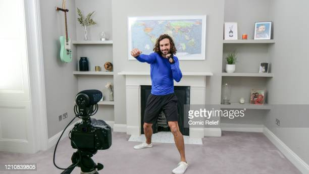 In this screengrab, Joe Wicks takes part in the BBC Children In Need and Comic Relief 'Big Night In at London on April 23, 2020 in London,...
