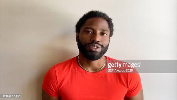In this screengrab, John David Washington is seen during the 2020 BET Awards. The 20th annual BET Awards, which aired June 28 was held virtually due...