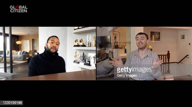 In this screengrab John Legend and Sam Smith perform during One World Together At Home presented by Global Citizen on April 2020 The global broadcast...