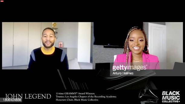 In this screengrab, John Legend and Tamika Mallory attend Black Music Collective GRAMMY Week Celebration during the 63rd Annual GRAMMY Awards on...