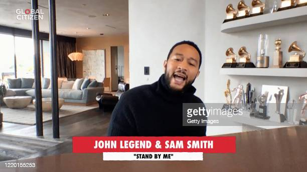 In this screengrab John Legend performs during One World Together At Home presented by Global Citizen on April 2020 The global broadcast and digital...