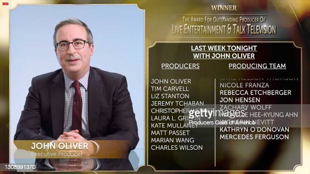 In this screengrab, John Oliver accepts the Outstanding Producer of Live Entertainment & Talk Television Award during the 32nd Annual Producers Guild...