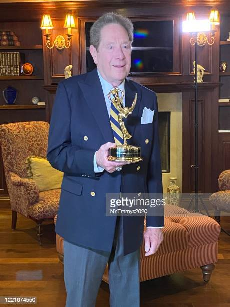 In this screengrab John Sterling recieves the NY NATAS Governor's award on camera during a livestream for the 63rd Annual Emmy Awards on April 25...