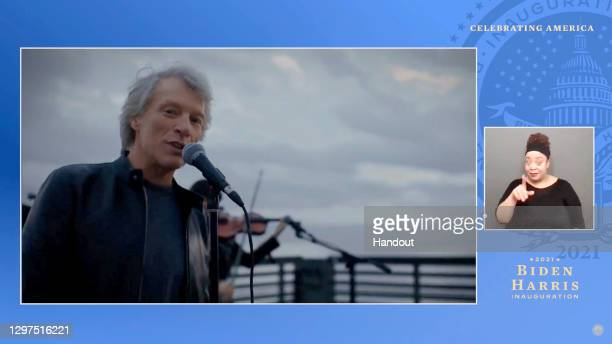 In this screengrab, Jon Bon Jovi performs during the Celebrating America Primetime Special on January 20, 2021. The livestream event hosted by Tom...