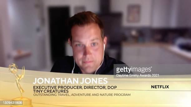 In this screengrab, Jonathan Jones accepts the award for Outstanding Travel, Adventure and Nature Program for Tiny Creatures during the 48th Annual...