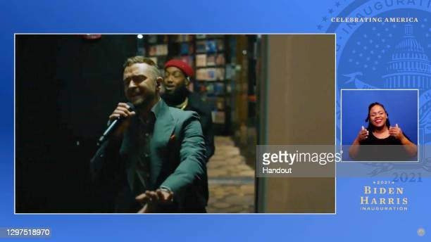 In this screengrab, Justin Timberlake and Ant Clemons perform during the Celebrating America Primetime Special on January 20, 2021. The livestream...