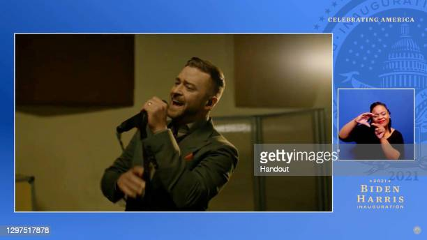 In this screengrab, Justin Timberlake performs during the Celebrating America Primetime Special on January 20, 2021. The livestream event hosted by...