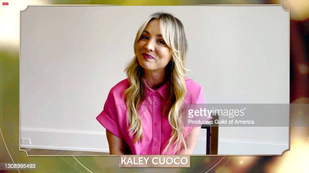In this screengrab, Kaley Cuoco speaks during the 32nd Annual Producers Guild Awards on March 24, 2021.