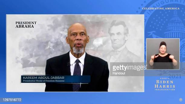 In this screengrab, Kareem Abdul-Jabbar speaks during the Celebrating America Primetime Special on January 20, 2021. The livestream event hosted by...