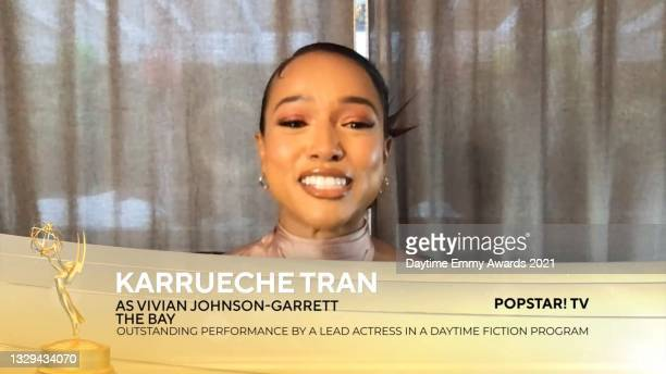 """In this screengrab, Karrueche Tran accepts the award for Outstanding Performance by a Lead Actress in a Daytime Fiction Program for """"The Bay"""" during..."""