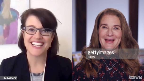 "In this screengrab, Kelly Corrigan and Melinda Gates speak at the featured session, ""Melinda Gates + Kelly Corrigan Talk Big Change"" during SXSW..."