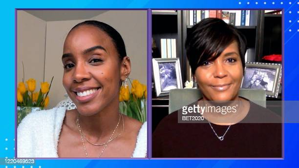 In this screengrab Kelly Rowland and Atlanta Mayor Keisha Lance Bottoms speak during Saving Our Selves A BET COVID19 Effort airing on April 22 2020...