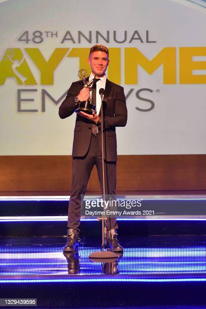 """In this screengrab, Kristos Andrews accepts the award for Outstanding Performance by a Lead Actor in a Daytime Fiction Program for """"The Bay"""" during..."""