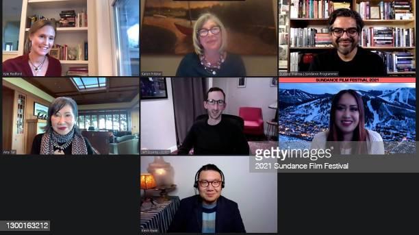 "In this screengrab Kyle Redford, Karen Pritzker, Sudeep Sharma, Amy Tan, Jeff Boyette, Cassandra Jabola, and Kevin Kwan speak at the ""Amy Tan:..."