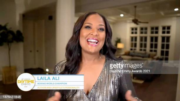 In this screengrab, Laila Ali speaks during the 48th Annual Daytime Emmy Awards for Lifestyle online on July 18, 2021.