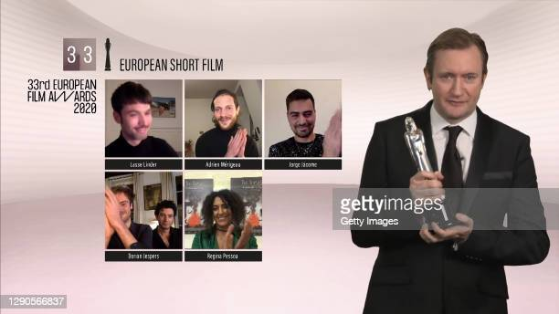 In this screengrab, Lasse Linder receives the European Short Film award from Mike Goodridge during The EFAs at Eight: EURIMAGES, Short Film & EUFA as...