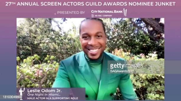 In this screengrab, Leslie Odom Jr. Of One Night in Miami... Speaks during the press junket for the 27th Annual Screen Actors Guild Awards on April...