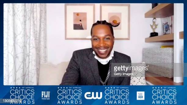 In this screengrab, Leslie Odom Jr., winner of Best Song Award, arrives at the press room at the 26th Annual Critics Choice Awards on March 07, 2021.